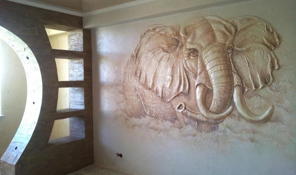 панно в виде слона из штукатурки
