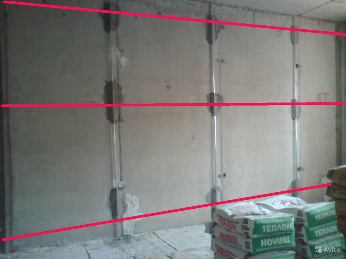 установка маяков на бетонную стену